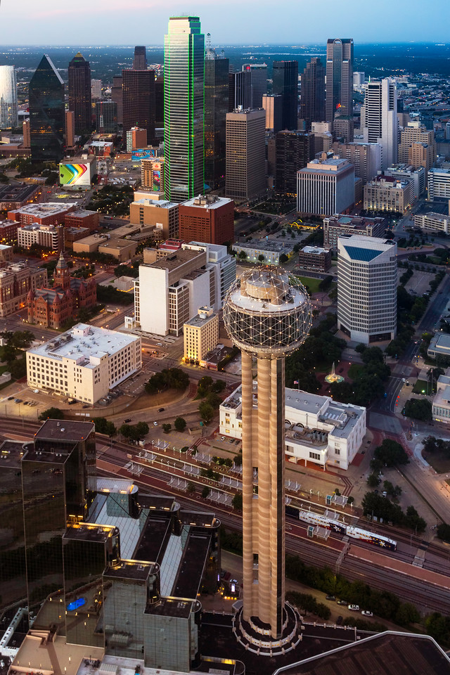 Downtown Dallas at sunset as viewed by helicopter.