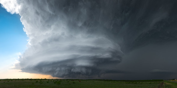 A rotating supercell thunderstorm spins across the landscape near Jolly, Texas on May 7, 2014. The supercell brought large hail and severe winds to the region.