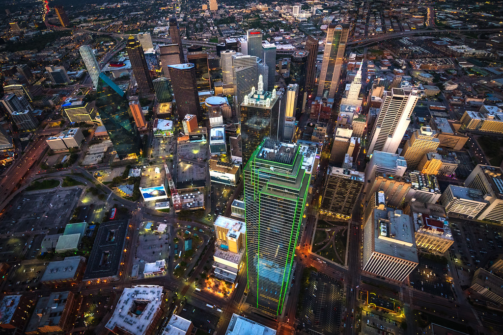 Downtown Dallas, Texas from a helicopter at sunset.