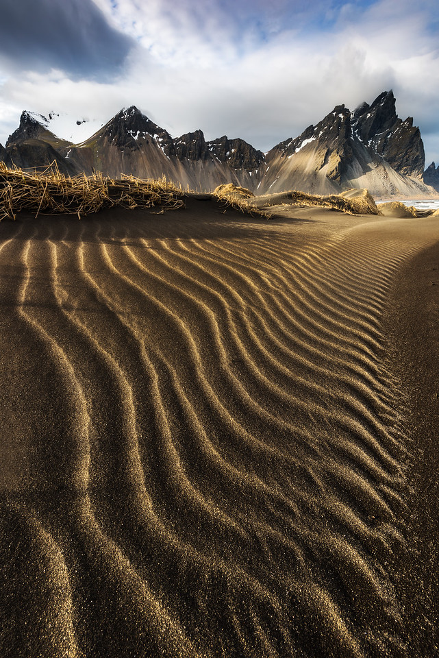 Stokksnes in Iceland at sunset.