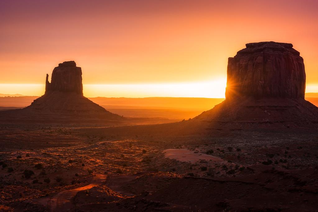 Monument Valley in Arizona at sunrise.